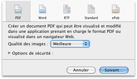 Options d'exportation fichier.pages